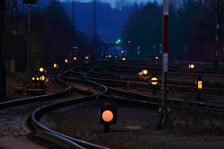 The train station of schwandorf at night photo