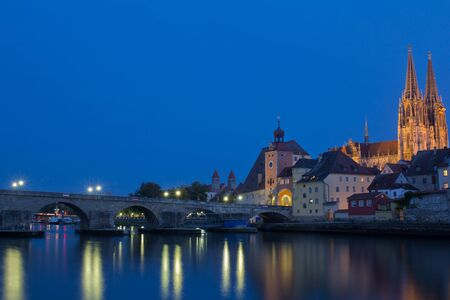 The Bavarian city Regensburg at sundown photo