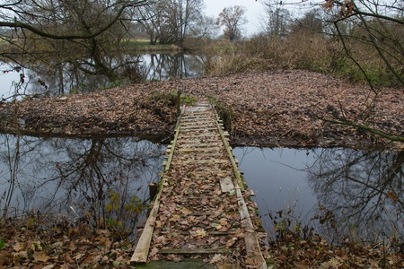 a little bridge with a lot of foliage in autumn photo