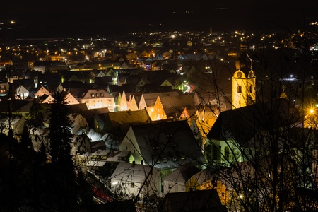 The bavarian city Schwandorf at night Stock Photo - 16800103