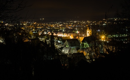 The bavarian city Schwandorf at night Stock Photo - 16800063