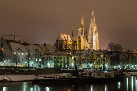 regensburg: Regensburg at night with snow in winter