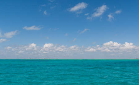 Sea during a boat trip near to Isla Contoy in Mexico photo