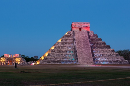 Light Show at the Mayan pyramids in Chichen Itza,Mexico. photo