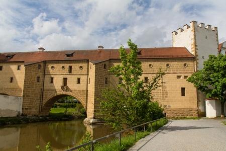 tenement: a beautiful old bridge in Amberg, Bavaria