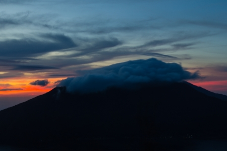 Fantastic view from the Mount Batur at sunrise in the morning photo