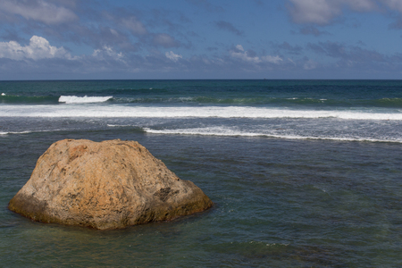 The coast at the Fort in Galle, Sri lanka  Nice waves between the rocks  photo