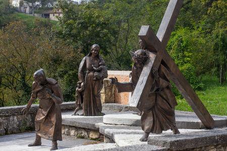 crucis: the via crucis at  Madonna della Corona Sanctuary in Italy
