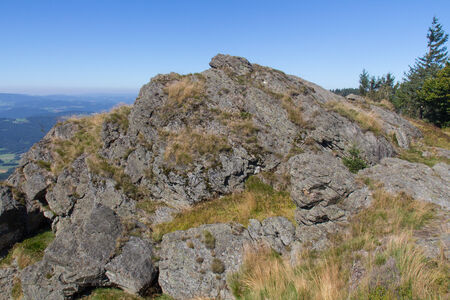 hiking in the Bavarian Mountains on a sunny summer day photo