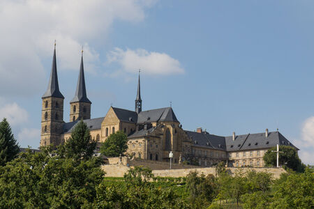 bayern old town: The Michaelsberg with the big cathedral in Bamberg Stock Photo