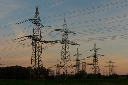 electrical towers at sundown photo
