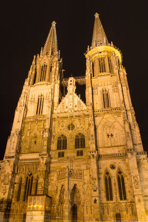 regensburg: The Cathedral of Regensburg in Bavaria at night