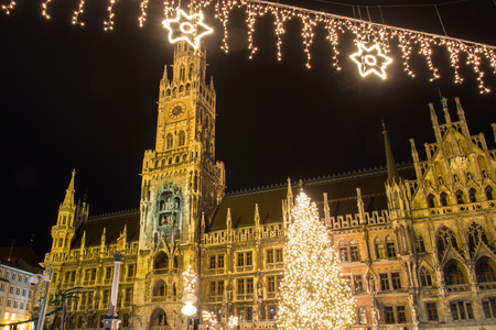 The christmas market on the Marienplatz in Munich Stock Photo