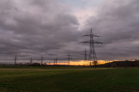 mains: electrical towers at sundown, next to Schwandorf in Bavaria