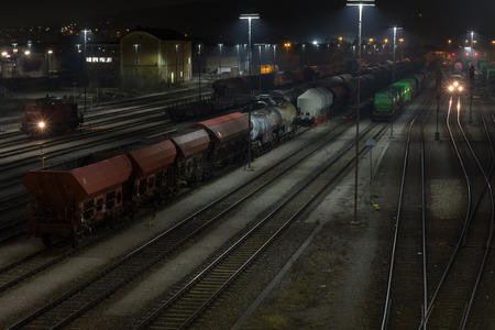 waverley: The train station of Schwandorf in Bavaria at night