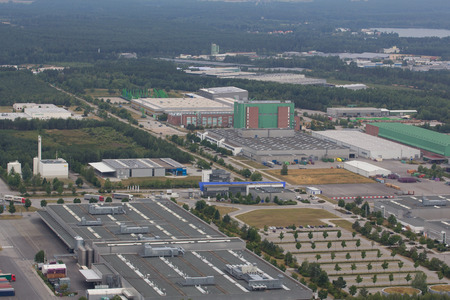 industrial park: Aerial view of an Industrial Park area in Wackersdorf, Bavaria Stock Photo