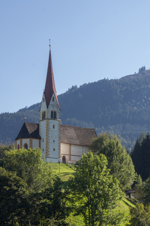 fuegen: Church in Fuegen in the Zillertal in Austria, F?gen