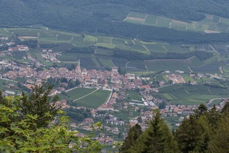 Vineyards around Kaltern in South Tyrol in Italy, foto taken from the mountain Mendel