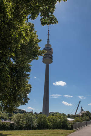the televison tower in the park in Munich, Bavaria