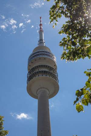 the televison tower in the park in Munich, Bavaria Foto de archivo