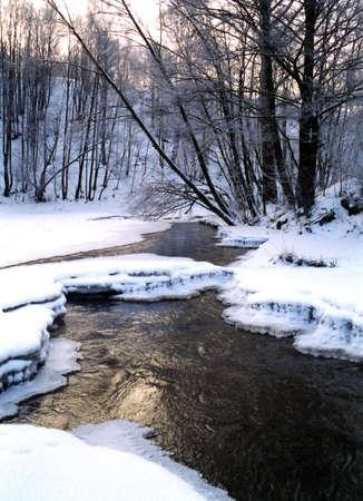 Quiet winter scenic with frozen streem