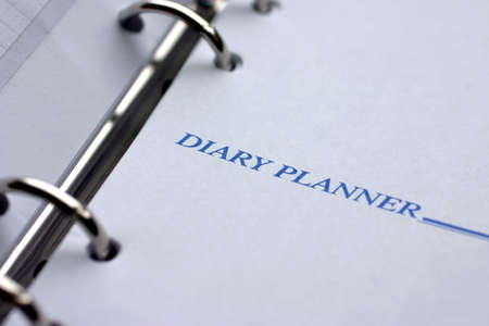 日記プランナー クローズ アップ、言葉に焦点を当てる 写真素材