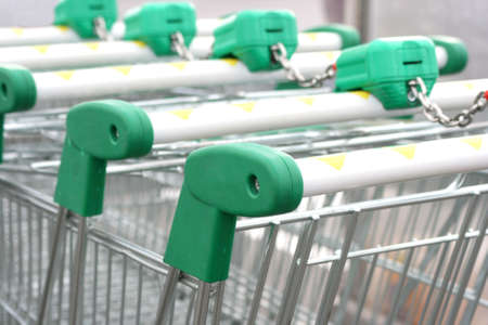 Close up of the shopping carts tied together in a row