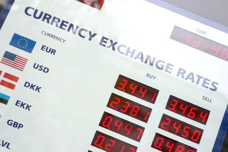 通貨為替レート ボード、ウィンドウ表示のフラグメント