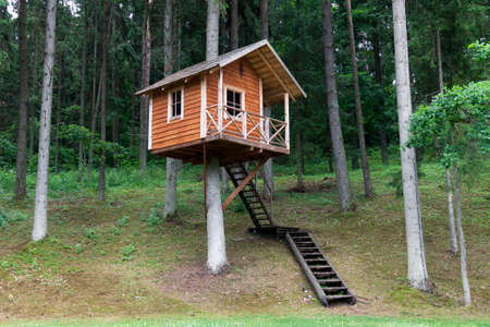 Remote wooden tree house in the forest  Stock Photo