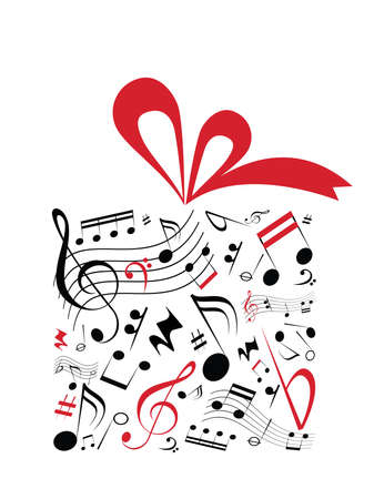 Concetto di musica vettore di scatola regalo con nastro rosso e pieno di note musicali