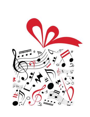 Muziek begrip vector van gift box met rood lint en vol muziek notities Stock Illustratie