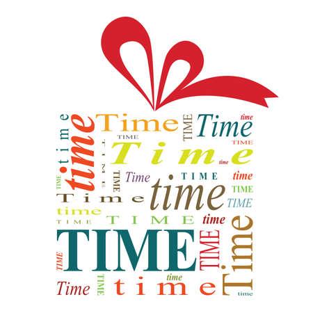 赤いリボン白い背景に分離し、'時間' の単語の完全にギフト ボックスのイラスト