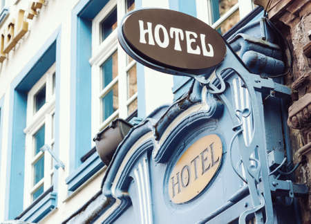 Typical classical style hotel outdoor sign in Strasbourg, France