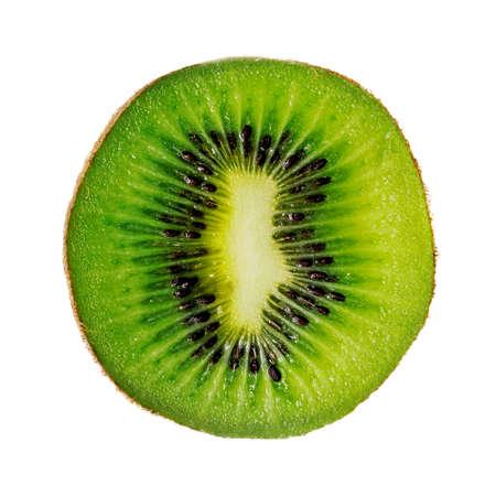 Slice of fresh green kiwi fruit isolated on white background