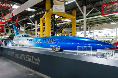 SINSHEIM, GERMANY - JULY 1, 2017: The Blue Flame on exhibit in Sinsheim Auto & Technik Museum, Germany. The Blue Flame is a rocket-powered vehicle that achieved the world land speed record in Utah on October 23, 1970.