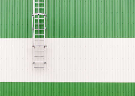 Industrial warehouse wall with metal ladder. Abstract minimalist picture with copy space on the right