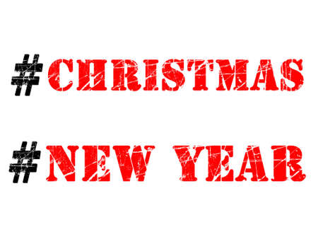 Christmas and New Year hashtags illustration. Red and black words with rubber stamp effect on white background