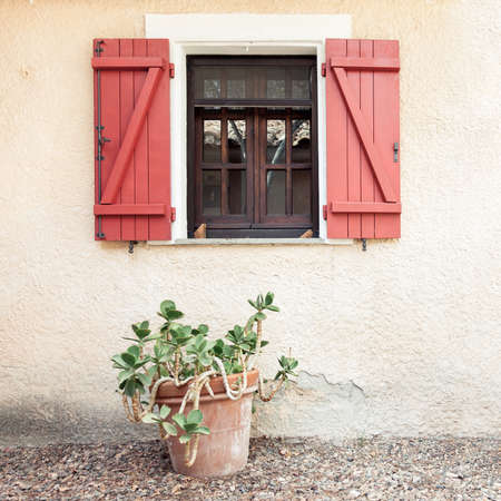 Old wooden home window with open shutters and tropical palnt in flower pot, front view outdoor picture