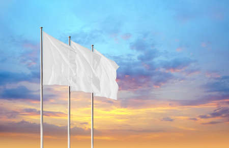 Three white blank flags waving in the wind against sunset sky. Perfect mockup to add any logo, symbol or sign