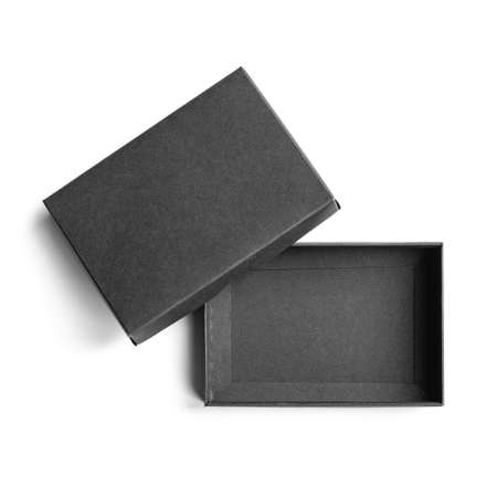 Small empty black box opened with cover isolated on white bacground, blank empty product packaging cardboard with copy space, top view picture