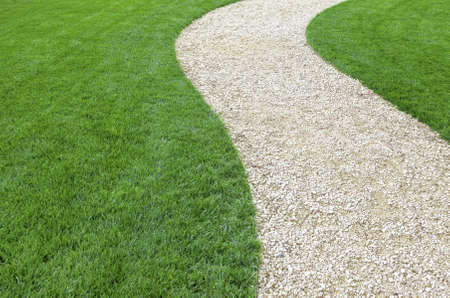 Curved garden stone path with fresh green cultivated lawn in summer