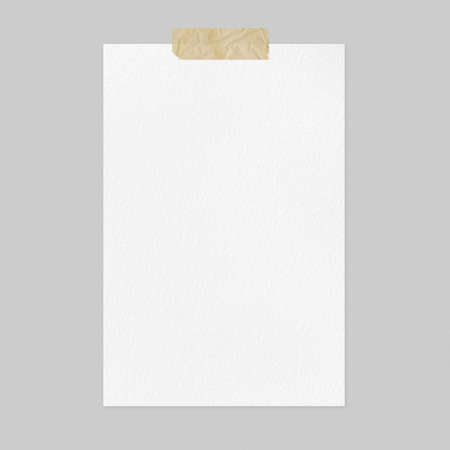 Blank white paper sheet mockup on light gray background, front view a4 poster mockup with adhesive tape and copy space