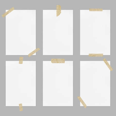 Set of blank white paper sheets with adhesive tapes on light gray background, front view a4 poster mockup collection  copy space 写真素材