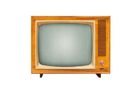 Vintage TV set isolated on white background, alanog television technology