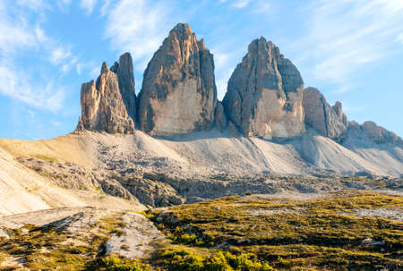 Mountainous landscape in evening in Three Peaks Nature Park in Italian dolomite Alps, Sesto Dolomites in South Tyrol