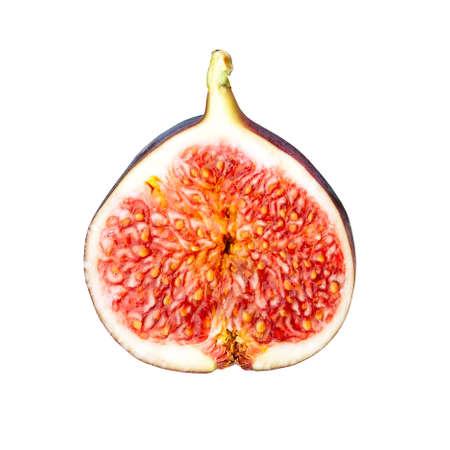 Fresh fig slice isolated on white background, ripe fruit half cut out, studio shot