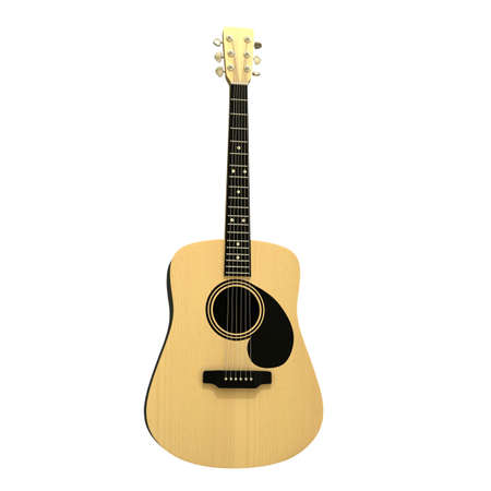 Acoustic guitar isolated on white background, front view of musical instrument