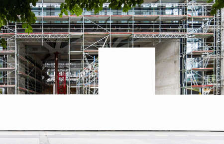 Construction site with blank construction fence mockup, fence panel with copy space for branding or building information