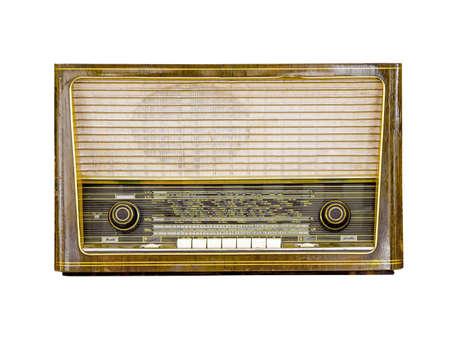 Vintage radio isolated on white background, retro alanog radio technology