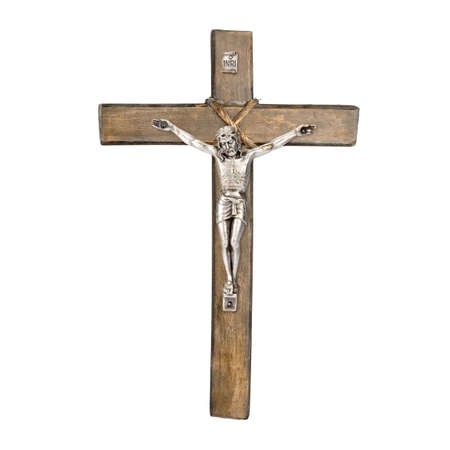 Old wooden Christian crucifix of Jesus Christ isolated on white background